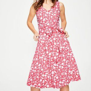 BODEN Jade Fit Flare Midi Dress pink white flowers